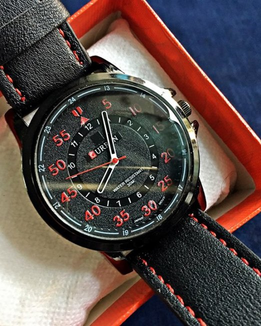 CURREN-Black-Red-Wrist-Watch-1