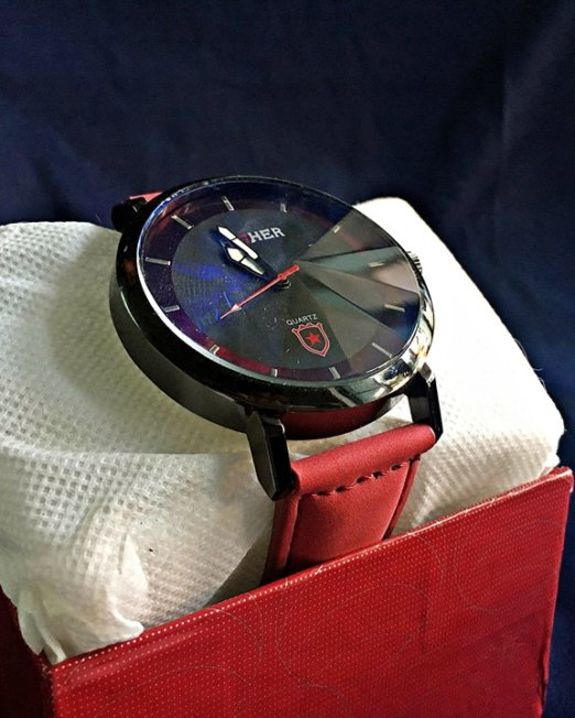 HIGHER Red & Black Wrist Watch